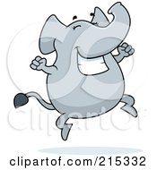 Royalty Free RF Clipart Illustration Of A Happy Elephant Jumping by Cory Thoman