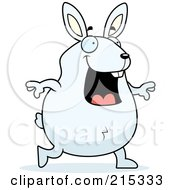 Royalty Free RF Clipart Illustration Of A Chubby White Rabbit Walking by Cory Thoman