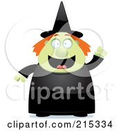Royalty Free RF Clipart Illustration Of A Plump Green Witch With An Idea by Cory Thoman