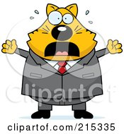 Royalty Free RF Clipart Illustration Of A Plump Scared Business Cat by Cory Thoman