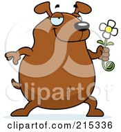 Royalty Free RF Clipart Illustration Of A Chubby Brown Dog Presenting A Daisy by Cory Thoman