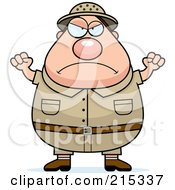 Royalty Free RF Clipart Illustration Of A Plump Angry Safari Man