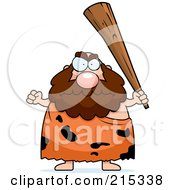 Royalty Free RF Clipart Illustration Of A Plump Caveman Holding Up A Club by Cory Thoman