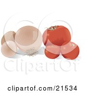 Clipart Illustration Of A Still Life Of Red Tomatoes A White Onion And Two Chicken Eggs On A Kitchen Counter
