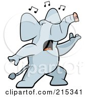 Royalty Free RF Clipart Illustration Of A Singing Elephant With Music Notes by Cory Thoman