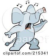 Singing Elephant With Music Notes
