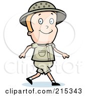Royalty Free RF Clipart Illustration Of A Blond Safari Boy Walking