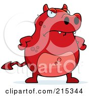 Royalty Free RF Clipart Illustration Of A Grumpy Red Devil by Cory Thoman