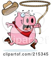 Royalty Free RF Clipart Illustration Of A Pink Rodeo Pig Swinging A Lasso by Cory Thoman