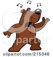 Royalty Free RF Clipart Illustration Of A Singing Bear With Music Notes