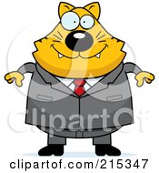 Royalty Free RF Clipart Illustration Of A Plump Business Cat In A Suit by Cory Thoman