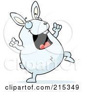 Royalty Free RF Clipart Illustration Of A Chubby White Rabbit Doing A Happy Dance by Cory Thoman