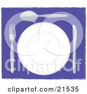Clipart Illustration Of A White Plate With Silverware Resting On A Purple Table At A Diner