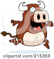 Royalty Free RF Clipart Illustration Of A Happy Bull On The Run by Cory Thoman