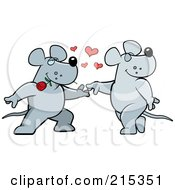 Royalty Free RF Clipart Illustration Of A Romantic Rat Pair Dancing