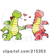 Royalty Free RF Clipart Illustration Of A Romantic Dragon Pair Dancing