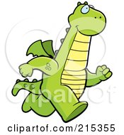 Royalty Free RF Clipart Illustration Of A Dragon Running Upright by Cory Thoman