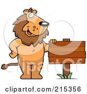 Royalty Free RF Clipart Illustration Of A Friendly Lion Standing By A Blank Wood Sign by Cory Thoman