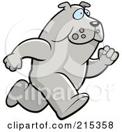 Royalty Free RF Clipart Illustration Of A Bulldog Running Upright by Cory Thoman