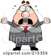 Royalty Free RF Clipart Illustration Of A Plump Businessman Frozen In Fear by Cory Thoman