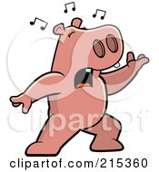 Royalty Free RF Clipart Illustration Of A Singing Hippo With Music Notes