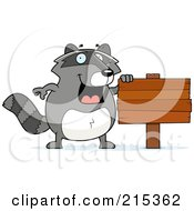 Royalty Free RF Clipart Illustration Of A Raccoon Beside A Wooden Sign by Cory Thoman