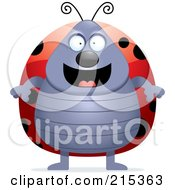 Royalty Free RF Clipart Illustration Of A Plump Ladybug Standing On Its Hind Legs by Cory Thoman