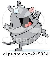Royalty Free RF Clipart Illustration Of A Happy Armadillo Dancing by Cory Thoman