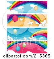 R Oyalty Free RF Clipart Illustration Of A Digital Collage Of Four Balloon And Rainbow Banners by BNP Design Studio