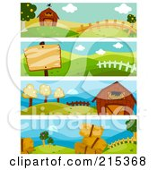 Digital Collage Of Four Farm Scene Banners