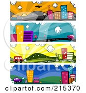 R Oyalty Free RF Clipart Illustration Of A Digital Collage Of Four Urban Banners by BNP Design Studio