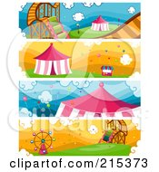 R Oyalty Free RF Clipart Illustration Of A Digital Collage Of Four Amusement Park Banners by BNP Design Studio