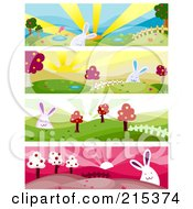 R Oyalty Free RF Clipart Illustration Of A Digital Collage Of Four Nature And Bunny Banners by BNP Design Studio