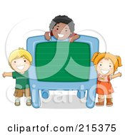 Royalty Free RF Clipart Illustration Of Diverse School Kids With A Blank Chalkboard