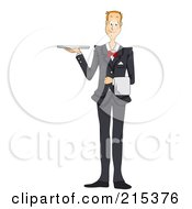 Royalty Free RF Clipart Illustration Of A Friendly Waiter In A Suit Holding A Platter Tray