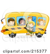 Royalty Free RF Clipart Illustration Of Diverse School Kids On A Bus 1 by BNP Design Studio