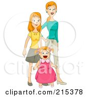Royalty Free RF Clipart Illustration Of A Pretty Mom Standing With Her Two Daughters by BNP Design Studio