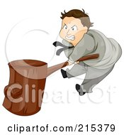 Royalty Free RF Clipart Illustration Of A Pissed Businsesman Banging A Wooden Hammer by BNP Design Studio