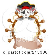 Royalty Free RF Clipart Illustration Of A Jolly Roger And Helm Border With A Blank Banner by BNP Design Studio