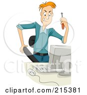 Royalty Free RF Clipart Illustration Of A Computer Technician Holding A Screwdriver by BNP Design Studio