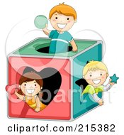 Royalty Free RF Clipart Illustration Of A Group Of Kids Playing In A Shape Box by BNP Design Studio