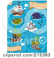 Royalty Free RF Clipart Illustration Of A Treasure Map With A Ship And Islands by BNP Design Studio