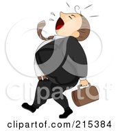 Royalty Free RF Clipart Illustration Of A Businessman Walking And Yawning by BNP Design Studio