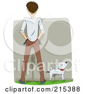 Royalty Free RF Clipart Illustration Of A Rear View Of A Man And His Dog Peeing On A Wall