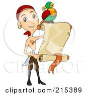 Royalty Free RF Clipart Illustration Of A Shirtless Pirate Man And Parrot With A Blank Parchment Scroll
