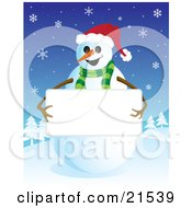 Clipart Illustration Of A Friendly Smiling Snowman In A Green Scarf And Santa Hat Holding Up A Blank White Sign With His Stick Arms