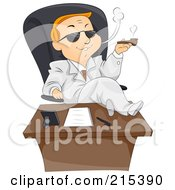 Royalty Free RF Clipart Illustration Of A Blond Businessman With His Feet Up On His Desk Smoking A Pipe by BNP Design Studio