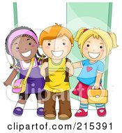 Royalty Free RF Clipart Illustration Of Diverse School Kids Standing By A Doorway
