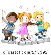 Royalty Free RF Clipart Illustration Of Diverse School Kids Playing Instruments On A Keyboard