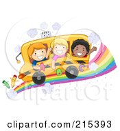 Diverse School Kids On A Bus On A Rainbow Road